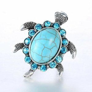 Sea Turtle Faux Turquoise Adjustable Ring